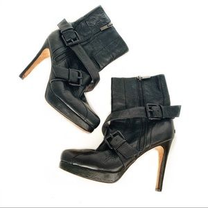 Geren Ford Black Heeled Leather Booties Size 7